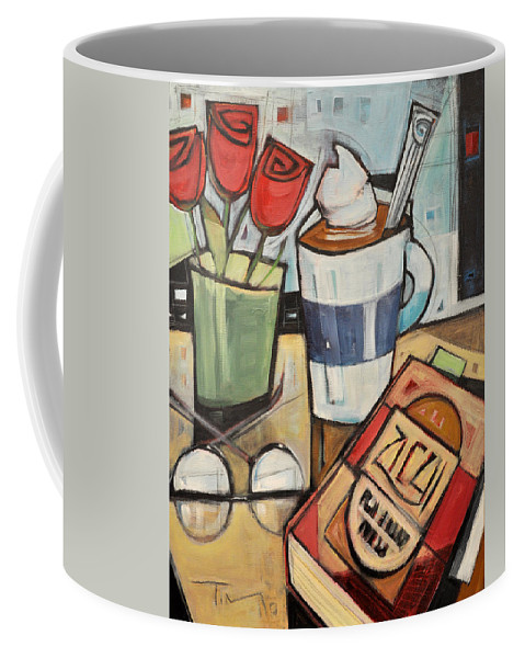 Cocoa Coffee Mug featuring the painting Cocoa And A Good Book by Tim Nyberg