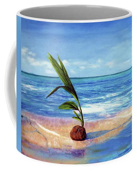 Ocean Coffee Mug featuring the painting Coconut on beach by Jose Manuel Abraham