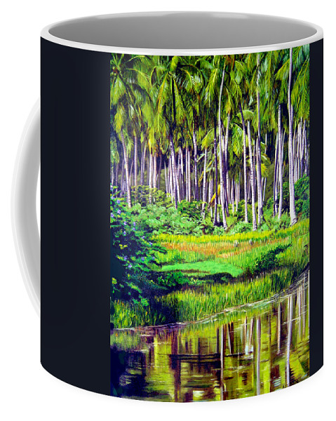 Coconuts Water River Green Art Tropical Coffee Mug featuring the painting Coconuts Trees by Jose Manuel Abraham
