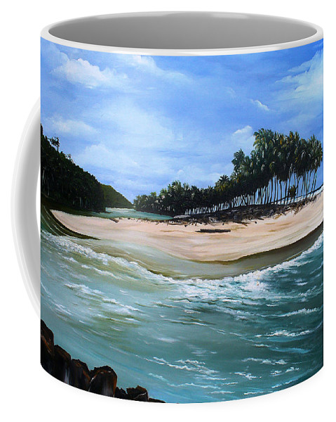 Ocean Paintings Sea Scape Paintings  Beach Paintings Palm Trees Paintings Water Paintings River Paintings  Caribbean Paintings  Tropical Paintings Trinidad And Tobago Paintings Beach Paintings Coffee Mug featuring the painting Cocos Bay Trinidad by Karin Dawn Kelshall- Best