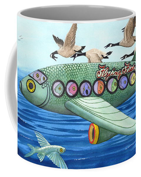 Flying Fish Coffee Mug featuring the painting Cod is my co-pilot by Catherine G McElroy
