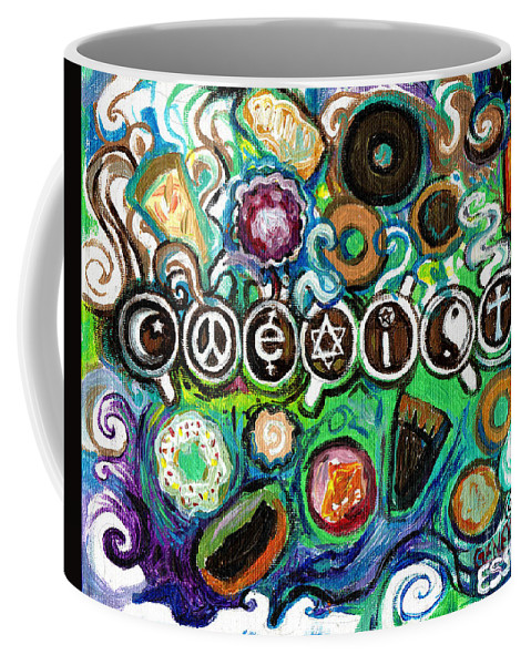 Coexist Coffee Mug featuring the painting Coexisting With Coffee And Donuts by Genevieve Esson