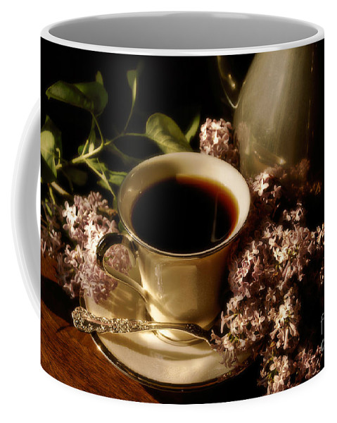 Coffee Coffee Mug featuring the photograph Coffee And Lilacs In The Morning by Lois Bryan