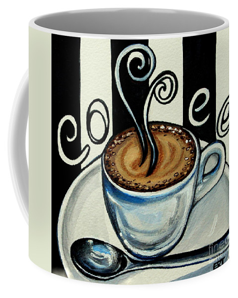 Coffee Coffee Mug featuring the painting Coffee At The Cafe by Elizabeth Robinette Tyndall