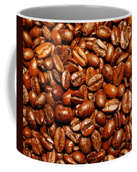 Coffee Coffee Mug featuring the photograph Coffee Beans by Nancy Mueller