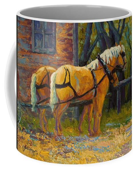 Horses Coffee Mug featuring the painting Coffee Break - Draft Horse Team by Marion Rose