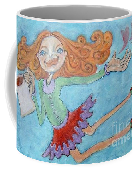 Floor Cloths Coffee Mug featuring the painting Coffee Love by Michelle Spiziri