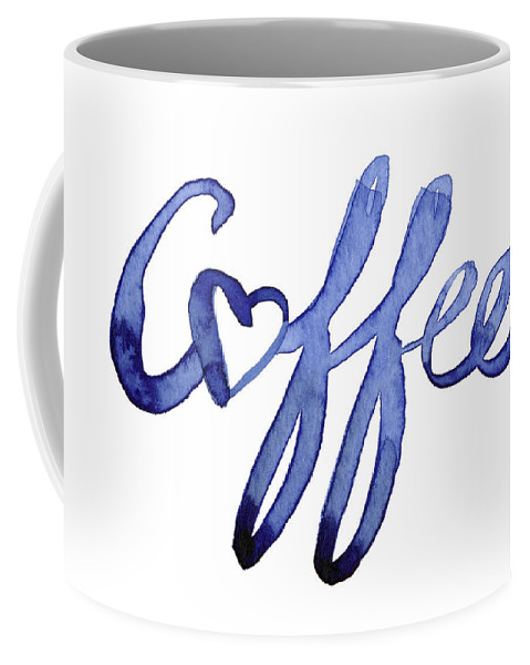 Coffee Coffee Mug featuring the painting Coffee Love Typography by Olga Shvartsur