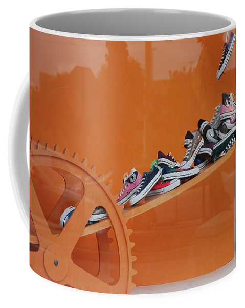 Orange Coffee Mug featuring the photograph Cogs N Converse by Rob Hans