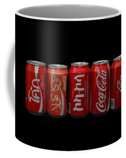 Red Coffee Mug featuring the photograph Coke Cans by Rob Hans