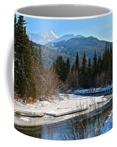 River Coffee Mug featuring the photograph Cold River Bend by Rick Monyahan