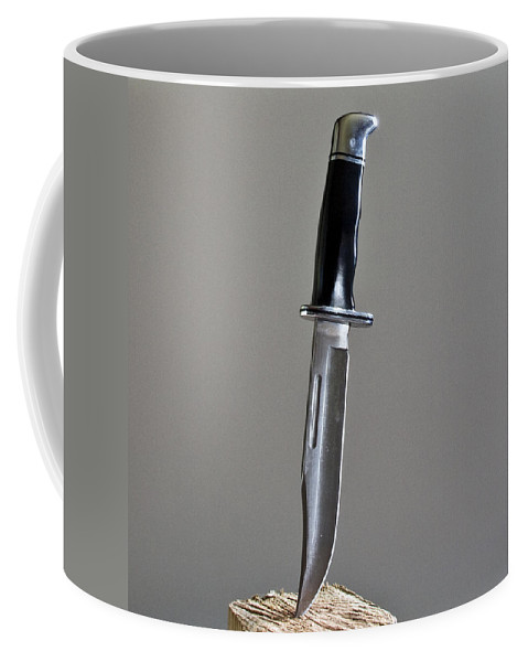 Cold; Steel; Stainless; Knife; Hunting; Hunt; Buck; Camping; Camp; Belt; Sheath; Sharp; Cut; Cutting Coffee Mug featuring the photograph Cold Steel by Allan Hughes