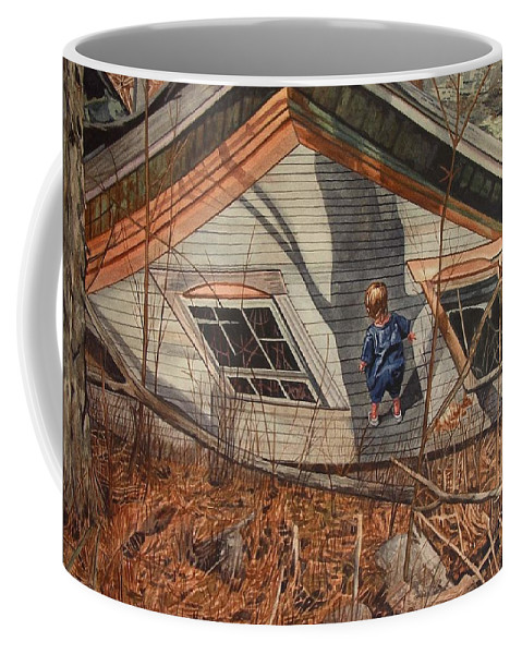 Children Coffee Mug featuring the painting Collapsed by Valerie Patterson