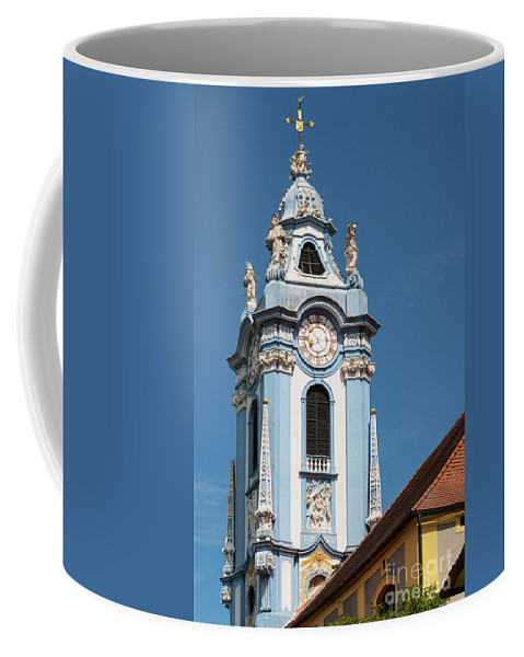 Durnstein Austria Collegeiate Blue Church Tower Building Buildings Structure Structures Architecture Churches City Cities Cityscape Cityscapes Towers Place Of Worship Places Of Worship Coffee Mug featuring the photograph Collegiate Church Blue Tower by Bob Phillips