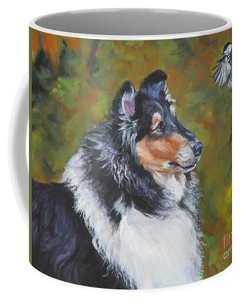 Dog Coffee Mug featuring the painting Collie Chickadee by Lee Ann Shepard