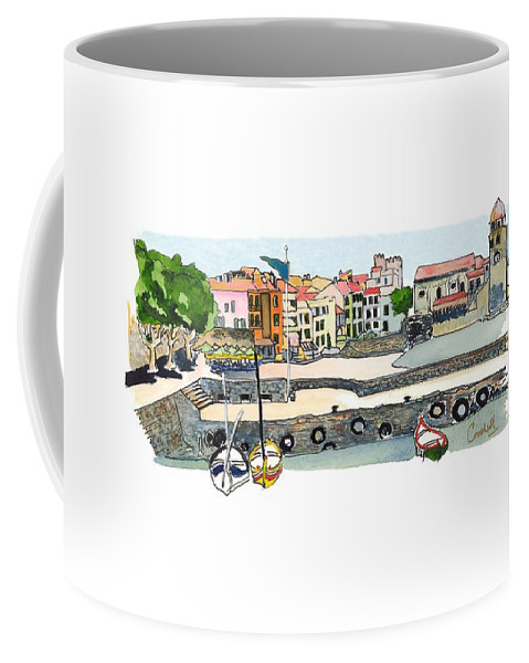French Coastal Scenery Coffee Mug featuring the painting Collioure,  Cote De Vermeille by Joan Cordell
