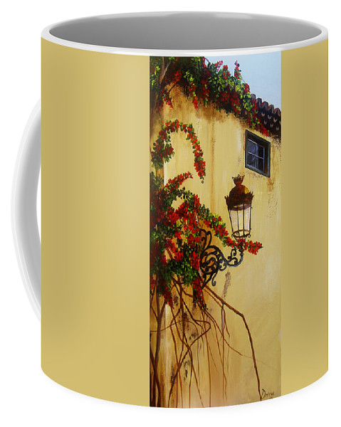 Cuban Painter Coffee Mug featuring the painting Colonial Corner by Dominica Alcantara