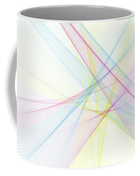 Abstract Coffee Mug featuring the digital art Color Computer Graphic Line Pattern by Frank Ramspott