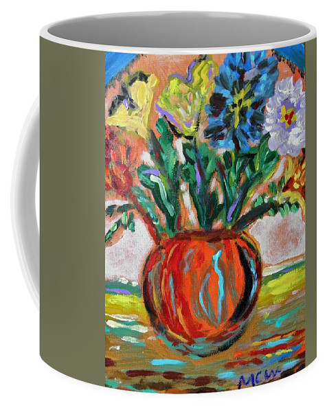 Floral Coffee Mug featuring the painting Color Everywhere by Mary Carol Williams