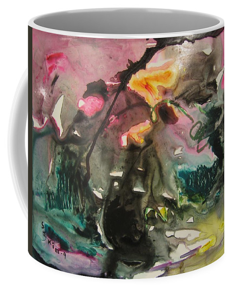 Abstract Paintings Coffee Mug featuring the painting Color Fever 125 by Seon-Jeong Kim