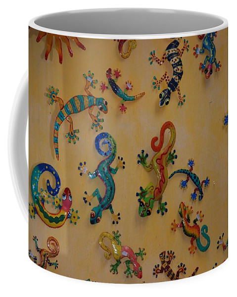 Pop Art Coffee Mug featuring the photograph Color Lizards On The Wall by Rob Hans