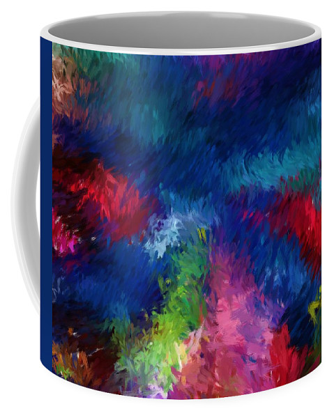 Abstract Coffee Mug featuring the digital art Color Splash Abstract 080210 by David Lane