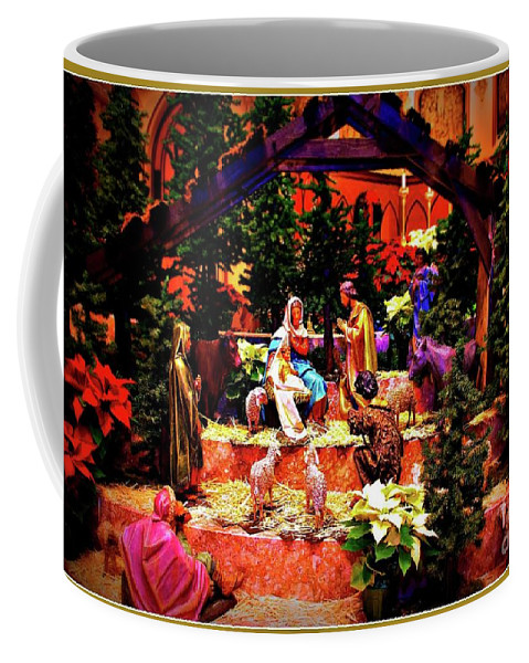 Christmas Coffee Mug featuring the photograph Color Vibe Nativity - Border by Frank J Casella