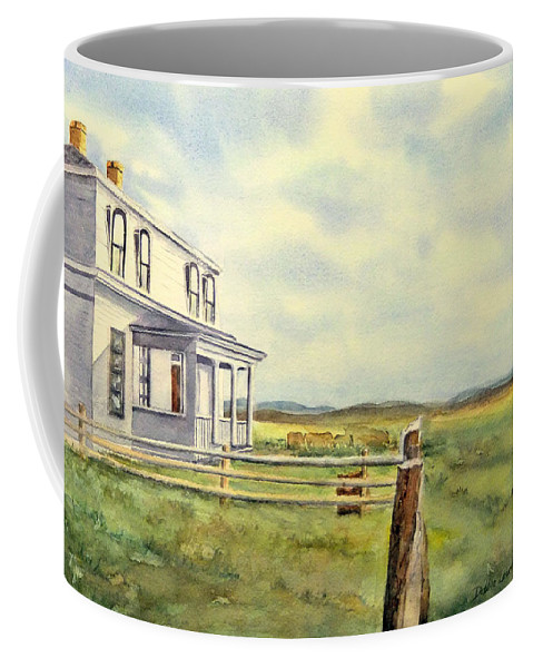 Watercolor Landscape Coffee Mug featuring the painting Colorado Ranch by Debbie Lewis