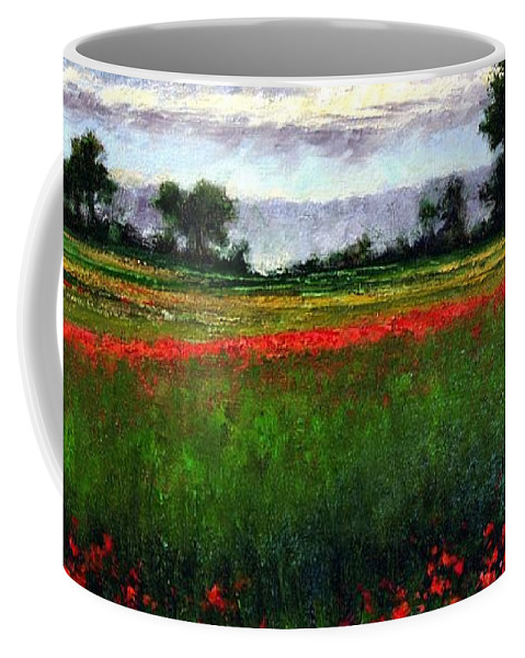 Landscape Coffee Mug featuring the painting Colorburst by Jim Gola