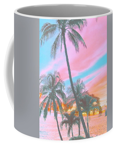 Surf Art Coffee Mug featuring the digital art Colored Palms by Lindsay Ahart