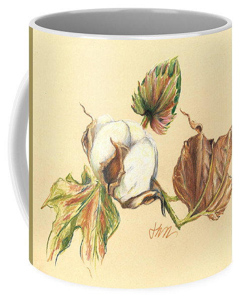 Graphite Pencil Drawing Coffee Mug featuring the drawing Colored Pencil Cotton Plant by Jacki Kellum