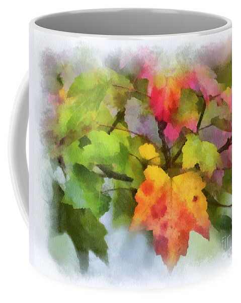Leaves Coffee Mug featuring the photograph Colorful Autumn Leaves - Digital Watercolor by Kerri Farley