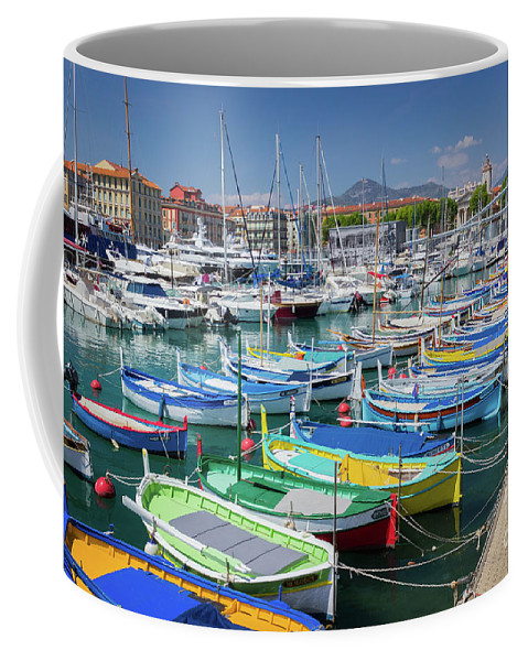 Castle Hill Coffee Mug featuring the photograph Colorful Boats Docked In Nice Marina, France by Liesl Walsh