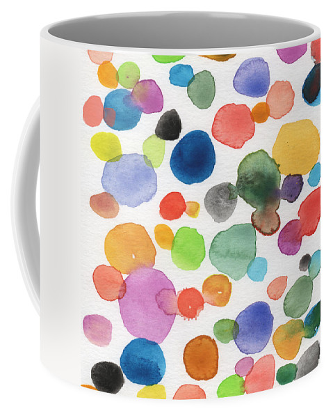 Abstract Watercolor Art Coffee Mug featuring the painting Colorful Bubbles by Linda Woods