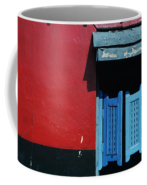 Architecture Coffee Mug featuring the photograph Colorful Caribbean Door by Larry Dale Gordon - Printscapes