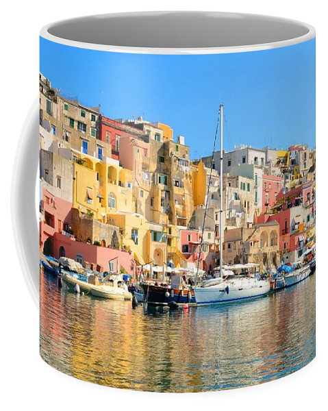 Marina Corricella Coffee Mug featuring the photograph Colorful Corricella by Yinguo Huang