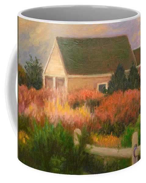 Cape Cod Coffee Mug featuring the painting Colorful Cottage Cape Cod by Phyllis Tarlow