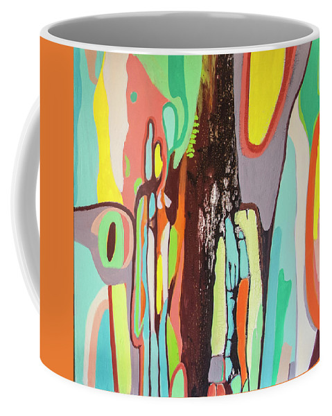 Abstract Coffee Mug featuring the painting Colorful Earth Day by Florentina Maria Popescu