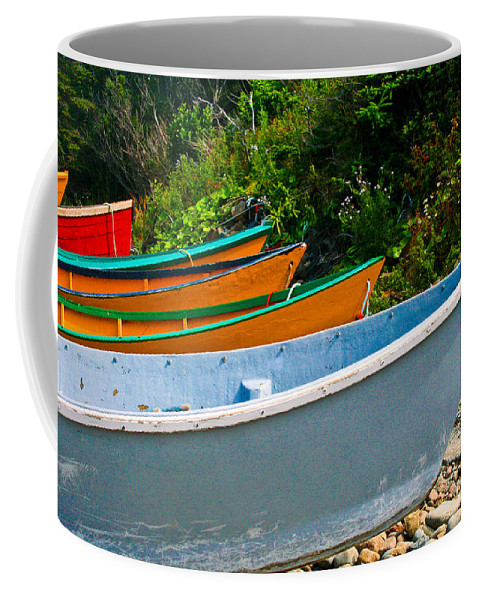 Fishing Coffee Mug featuring the photograph Colorful Fishing Boats On A Rocky Shore Grand Manan by Thomas Marchessault