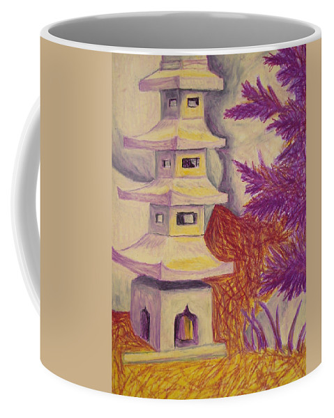 Tree Coffee Mug featuring the pastel Colorful Garden by Jean Haynes