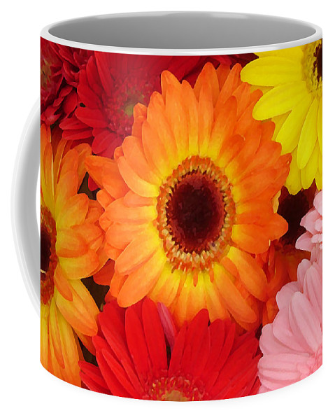 Gerber Daisy Coffee Mug featuring the painting Colorful Gerber Daisies by Amy Vangsgard