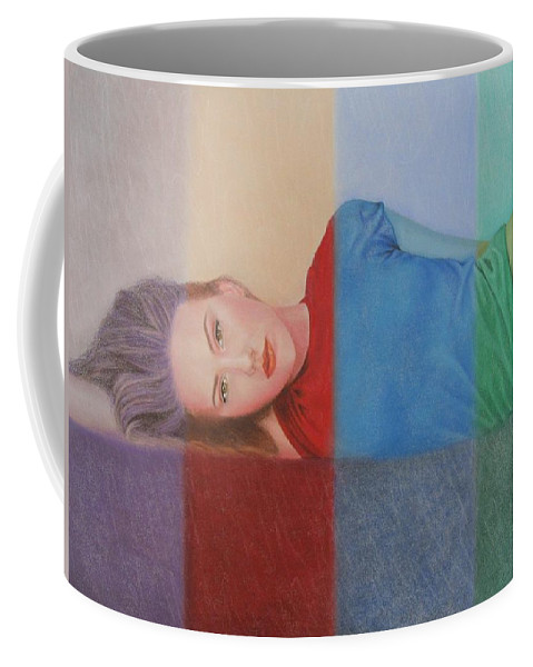Woman Coffee Mug featuring the painting Colorful Girl by Lynet McDonald