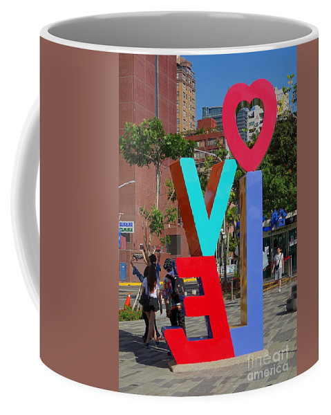 Taiwan Coffee Mug featuring the photograph Colorful Love Sign In Kaohsiung by Yali Shi