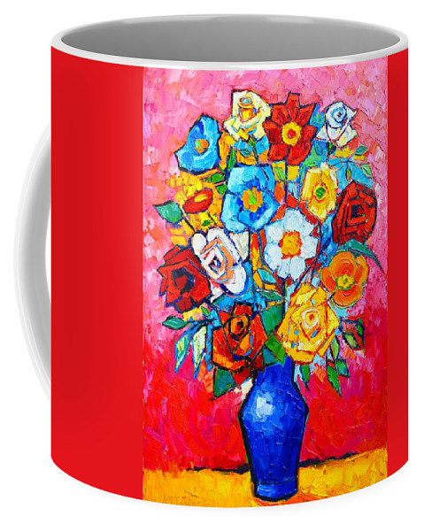 Roses Coffee Mug featuring the painting Colorful Roses And Camellias - Abstract Bouquet Of Flowers by Ana Maria Edulescu