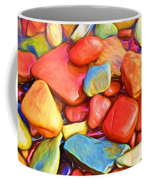 Abstract Coffee Mug featuring the painting Colorful Stones by Veikko Suikkanen