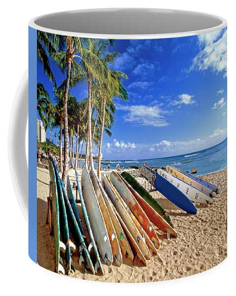 Beach Coffee Mug featuring the photograph Colorful Surfboards On Waikiki Beach by George Oze