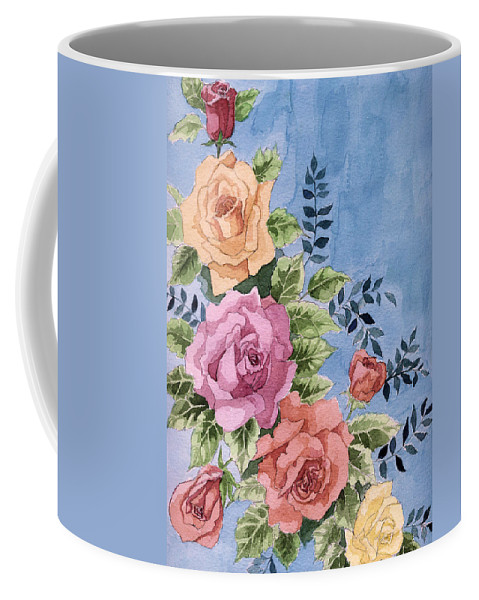 Roses Coffee Mug featuring the painting Colorfull Roses by Alban Dizdari