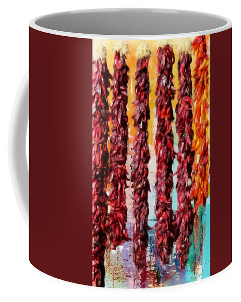 Red Chili Ristras Coffee Mug featuring the painting Colors Of New Mexico by Barbara Chichester