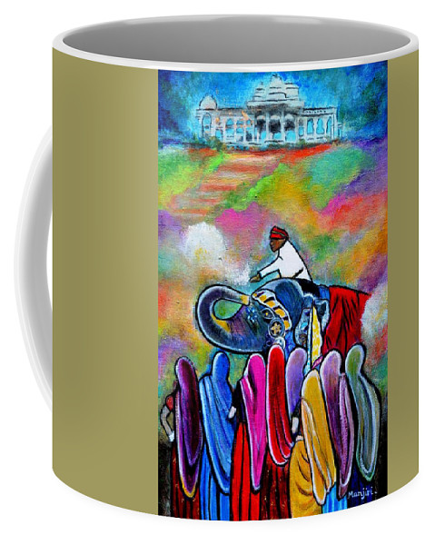 Rajasthan Coffee Mug featuring the painting Colors Of Rajasthan by Manjiri Kanvinde