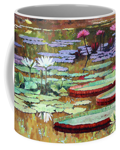 Garden Pond Coffee Mug featuring the painting Colors on the Lily Pond by John Lautermilch